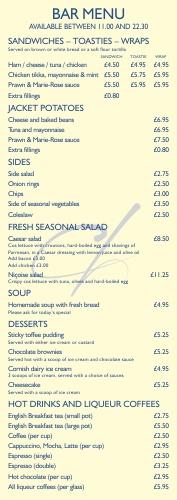 cornerhouse bar menu